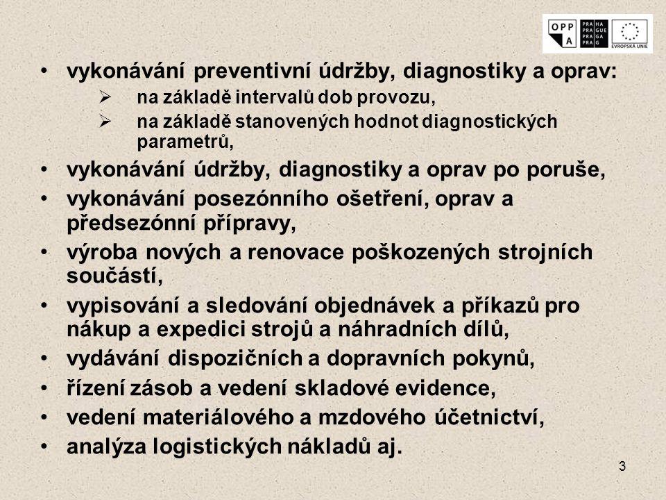 vykonávání preventivní údržby, diagnostiky a oprav: