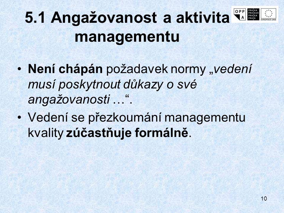 5.1 Angažovanost a aktivita managementu