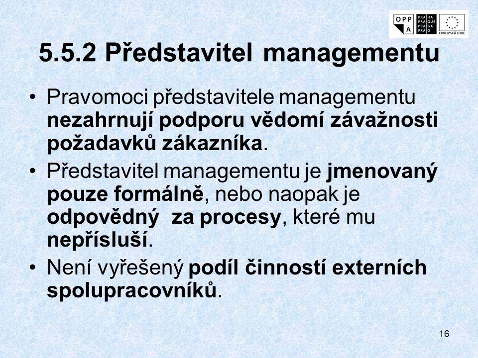 5.5.2 Představitel managementu