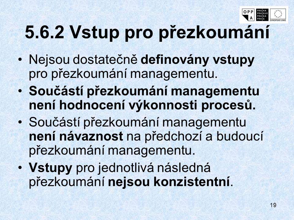 5.6.2 Vstup pro přezkoumání Nejsou dostatečně definovány vstupy pro přezkoumání managementu.