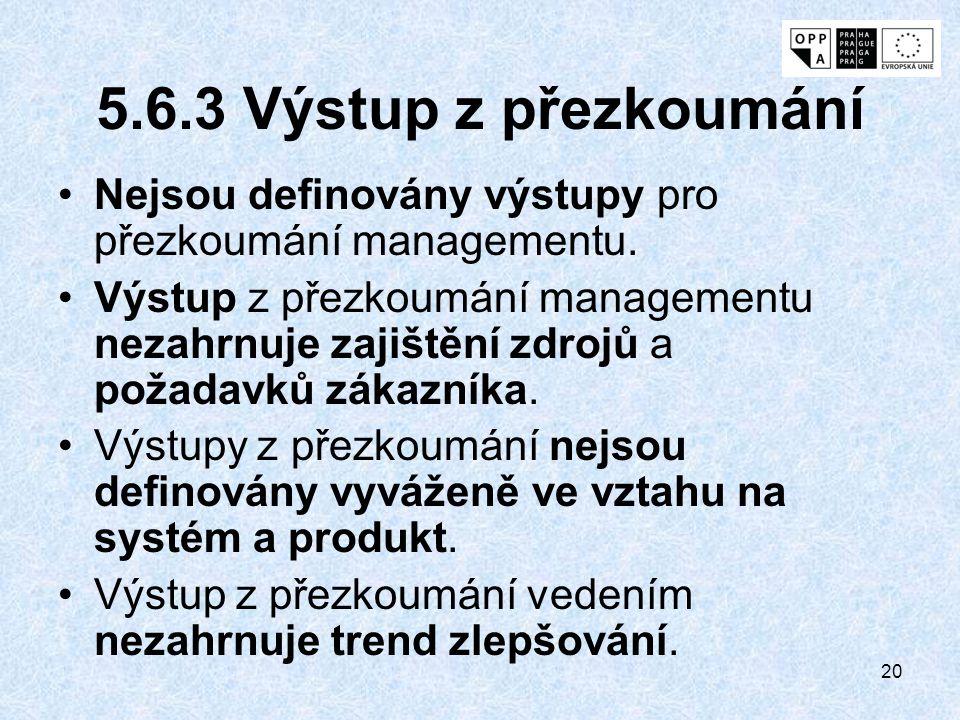5.6.3 Výstup z přezkoumání Nejsou definovány výstupy pro přezkoumání managementu.