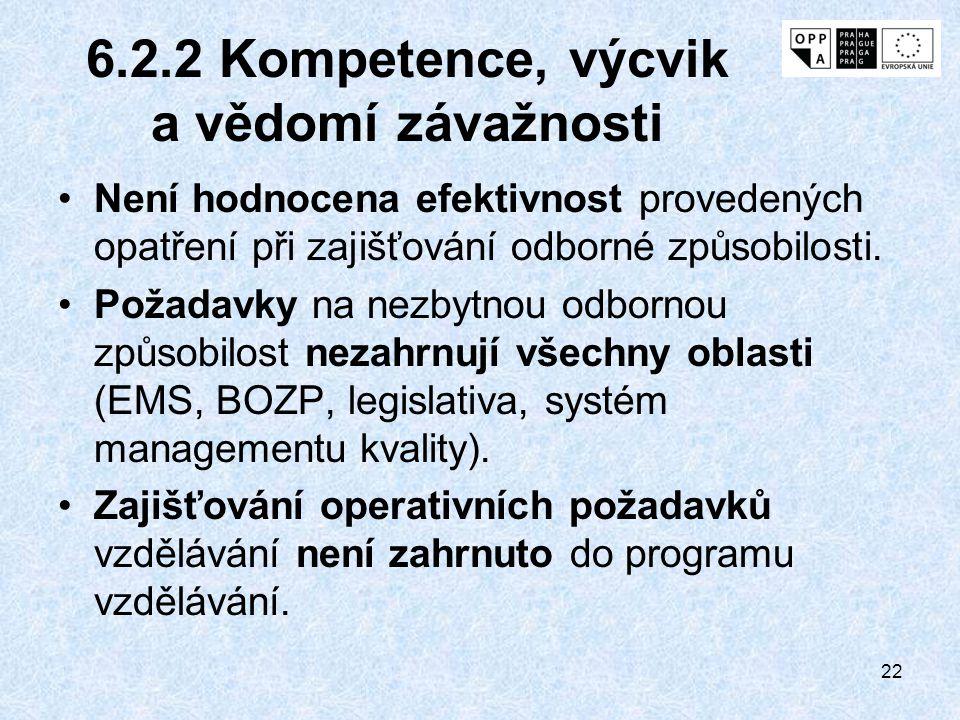6.2.2 Kompetence, výcvik a vědomí závažnosti