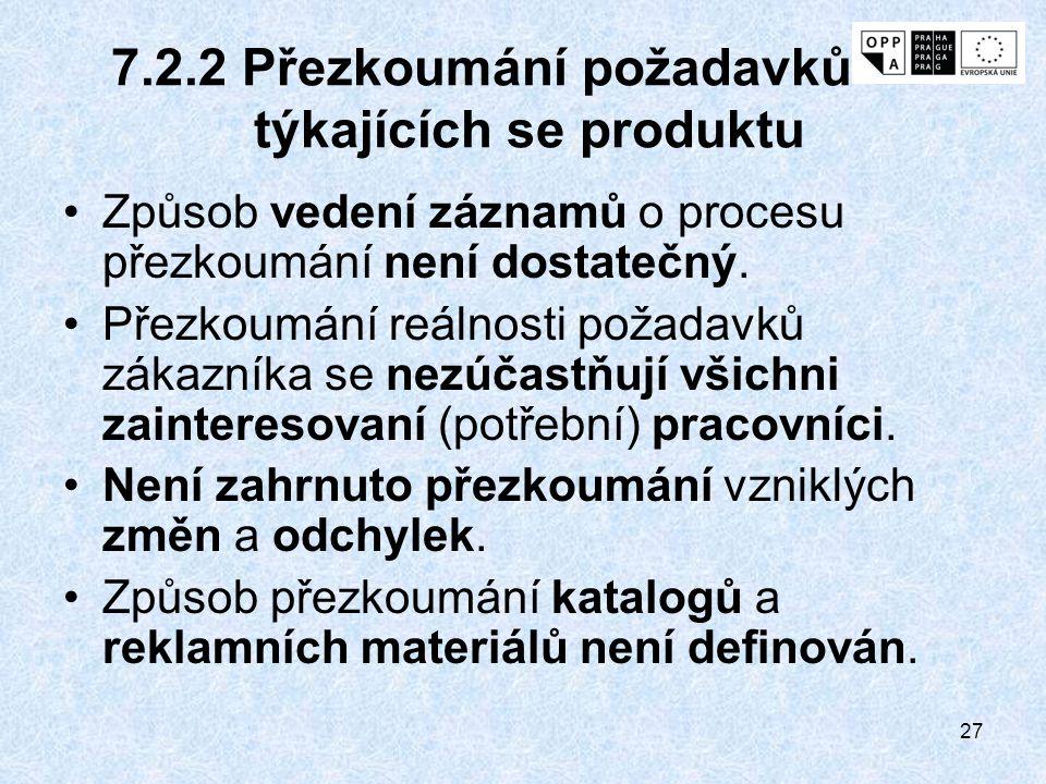 7.2.2 Přezkoumání požadavků týkajících se produktu
