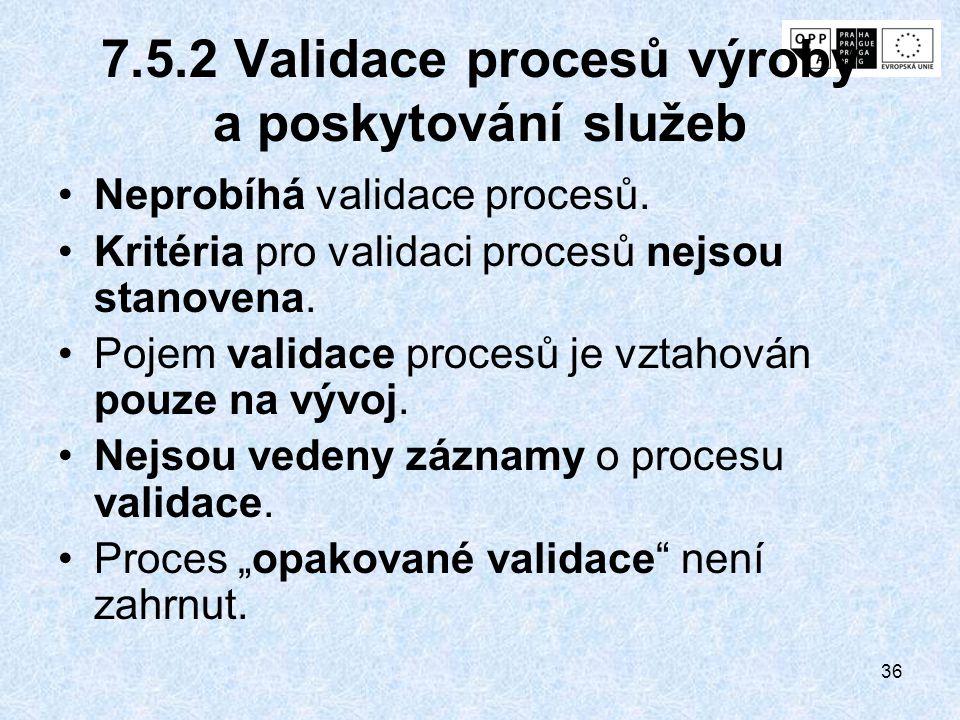 7.5.2 Validace procesů výroby a poskytování služeb