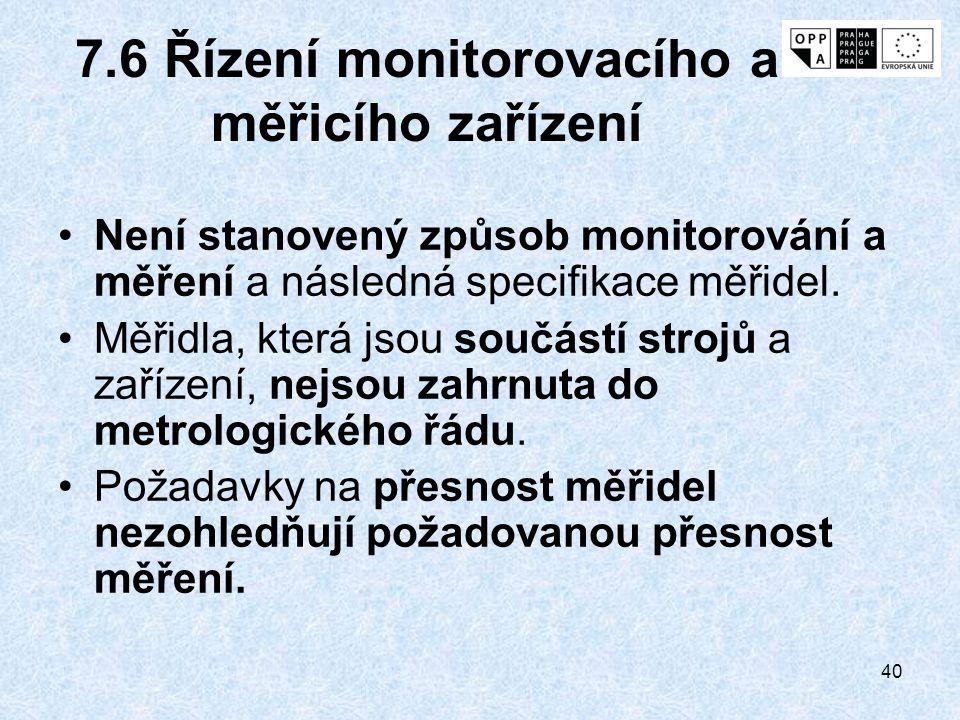 7.6 Řízení monitorovacího a měřicího zařízení