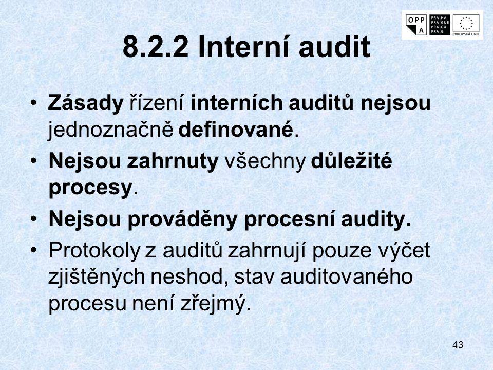 8.2.2 Interní audit Zásady řízení interních auditů nejsou jednoznačně definované. Nejsou zahrnuty všechny důležité procesy.