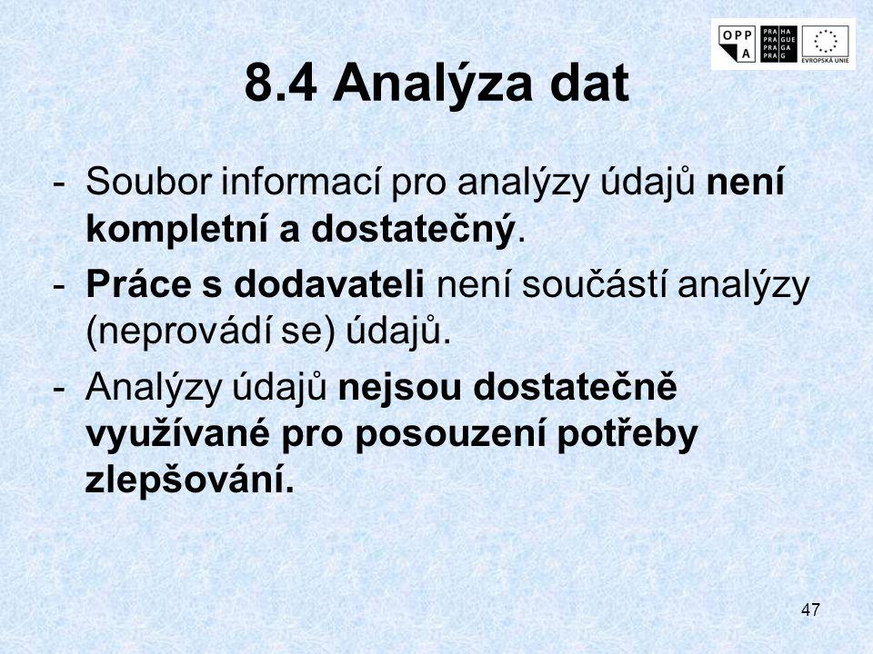 8.4 Analýza dat Soubor informací pro analýzy údajů není kompletní a dostatečný. Práce s dodavateli není součástí analýzy (neprovádí se) údajů.
