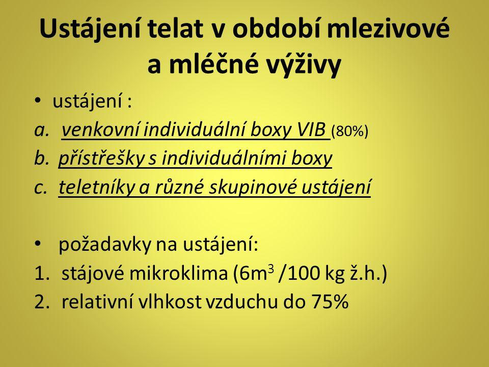 Ustájení telat v období mlezivové a mléčné výživy