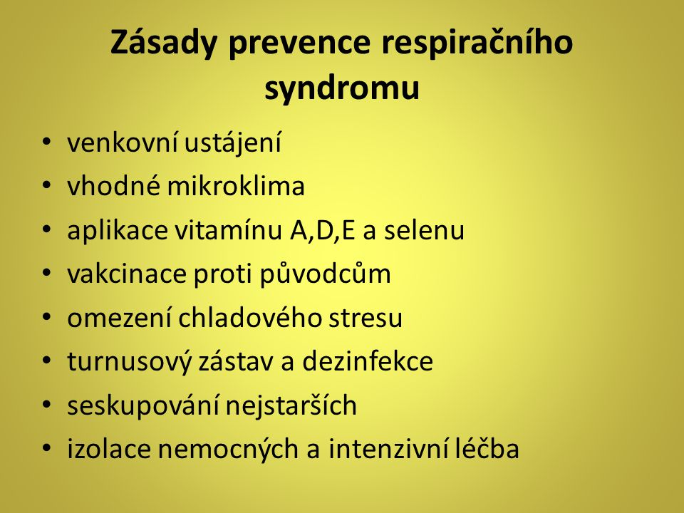 Zásady prevence respiračního syndromu