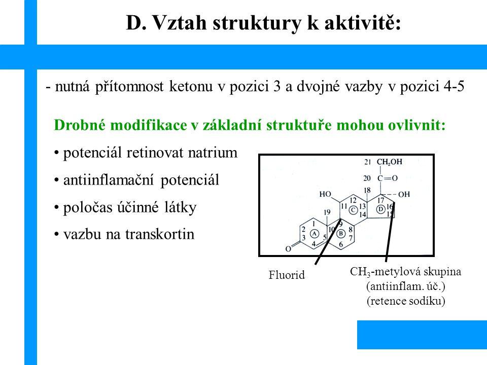 D. Vztah struktury k aktivitě:
