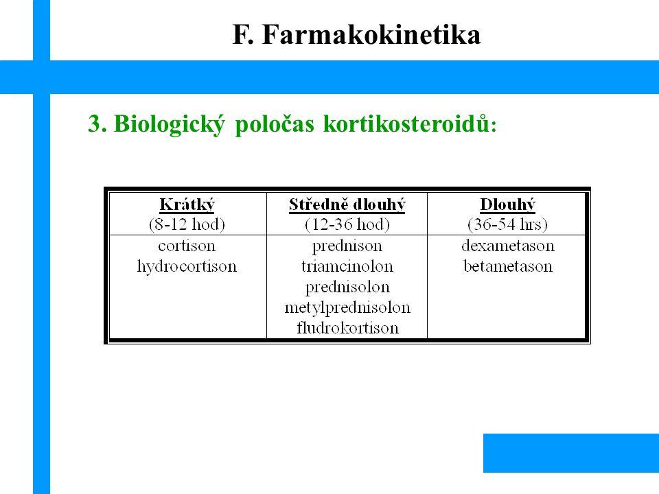 F. Farmakokinetika 3. Biologický poločas kortikosteroidů: