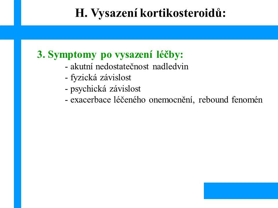 H. Vysazení kortikosteroidů: