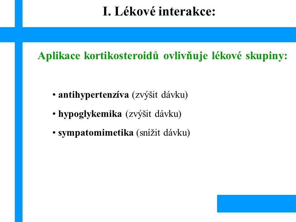 I. Lékové interakce: Aplikace kortikosteroidů ovlivňuje lékové skupiny: antihypertenzíva (zvýšit dávku)