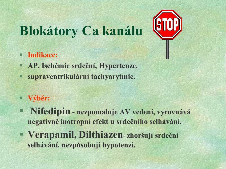 Blokátory Ca kanálu Indikace: AP, Ischémie srdeční, Hypertenze, supraventrikulární tachyarytmie. Výběr: