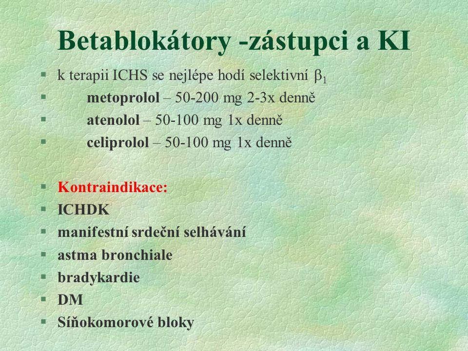 Betablokátory -zástupci a KI