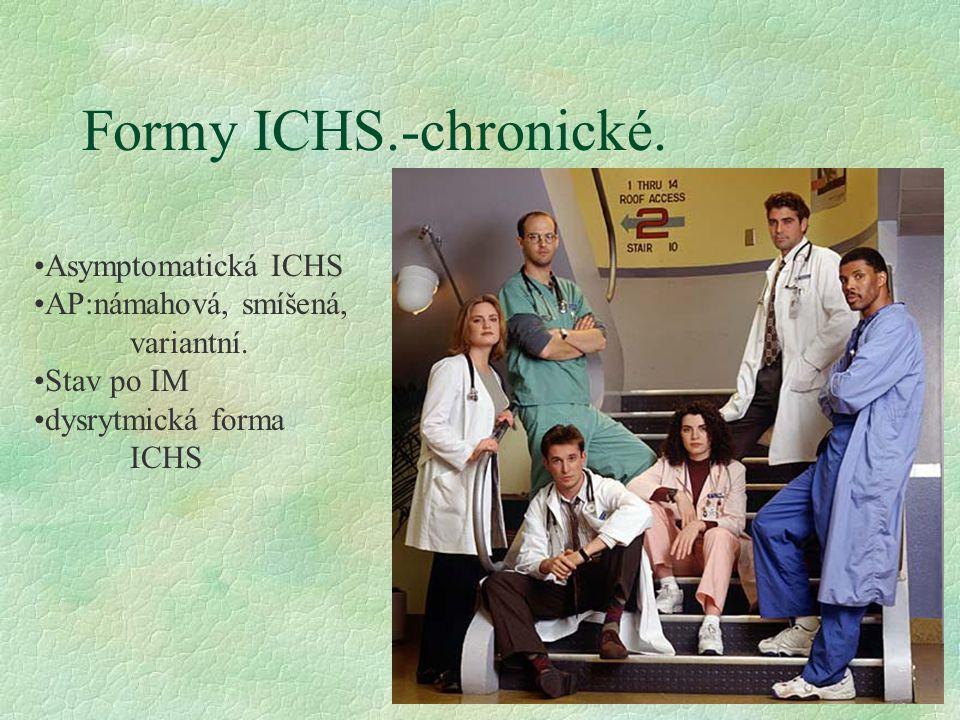 Formy ICHS.-chronické. Asymptomatická ICHS AP:námahová, smíšená,