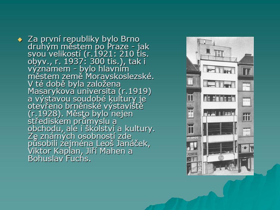 Za první republiky bylo Brno druhým městem po Praze - jak svou velikostí (r.1921: 210 tis.