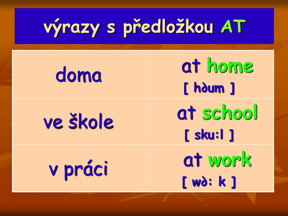 at home doma at school ve škole at work v práci výrazy s předložkou AT