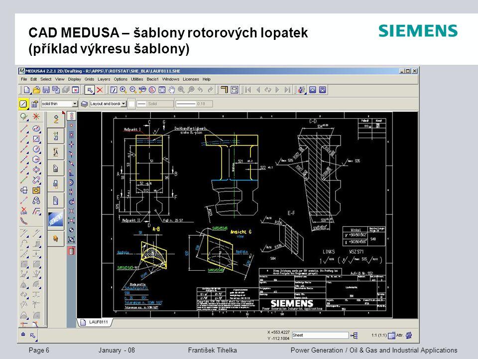 CAD MEDUSA – šablony rotorových lopatek (příklad výkresu šablony)