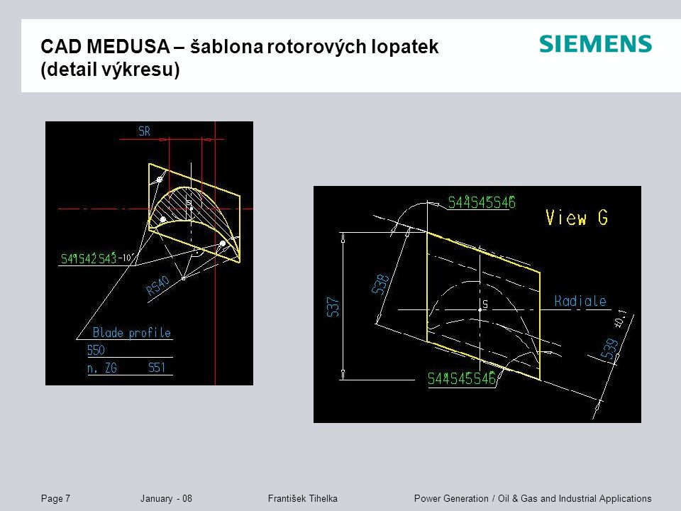 CAD MEDUSA – šablona rotorových lopatek (detail výkresu)