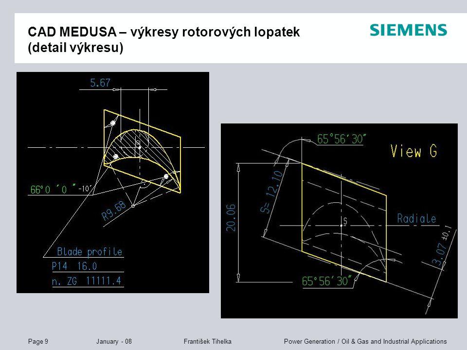 CAD MEDUSA – výkresy rotorových lopatek (detail výkresu)