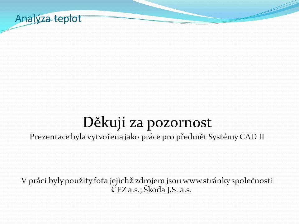 Prezentace byla vytvořena jako práce pro předmět Systémy CAD II