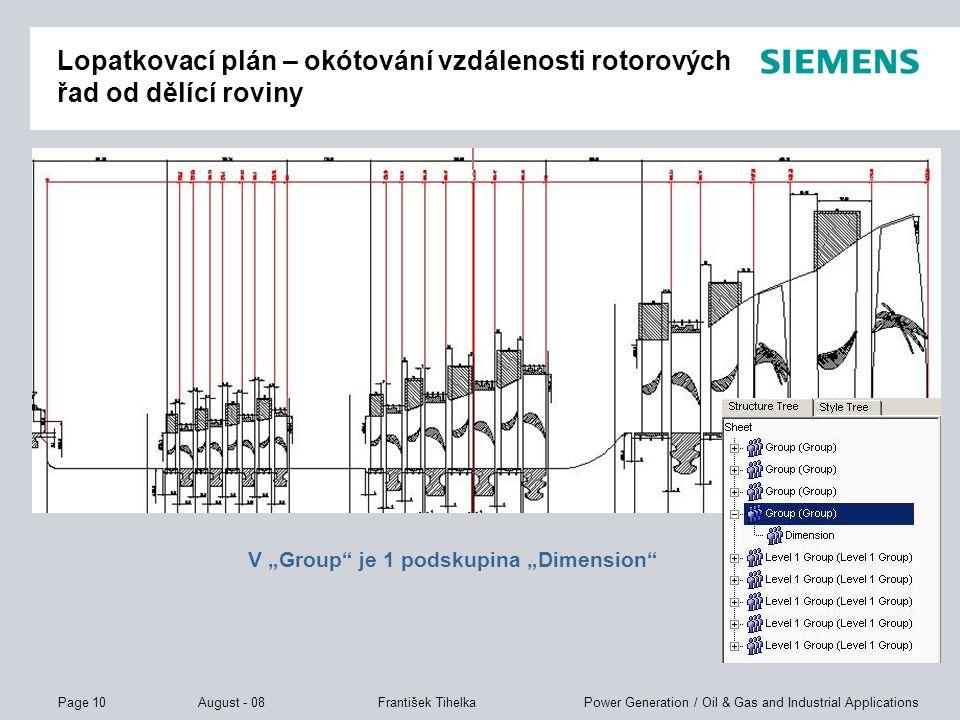 Lopatkovací plán – okótování vzdálenosti rotorových řad od dělící roviny