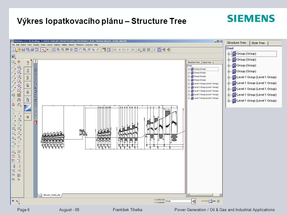 Výkres lopatkovacího plánu – Structure Tree