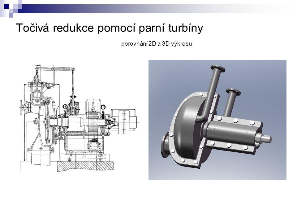 Točivá redukce pomocí parní turbíny porovnání 2D a 3D výkresu