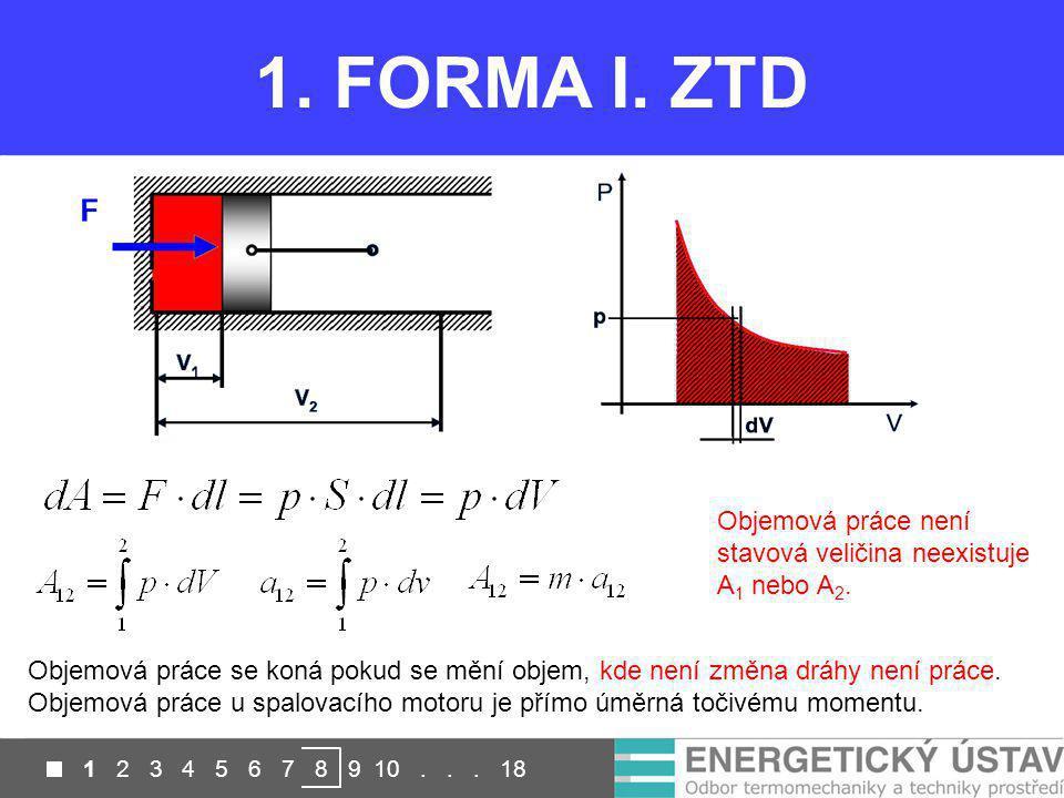 1. FORMA I. ZTD Objemová práce není stavová veličina neexistuje A1 nebo A2.