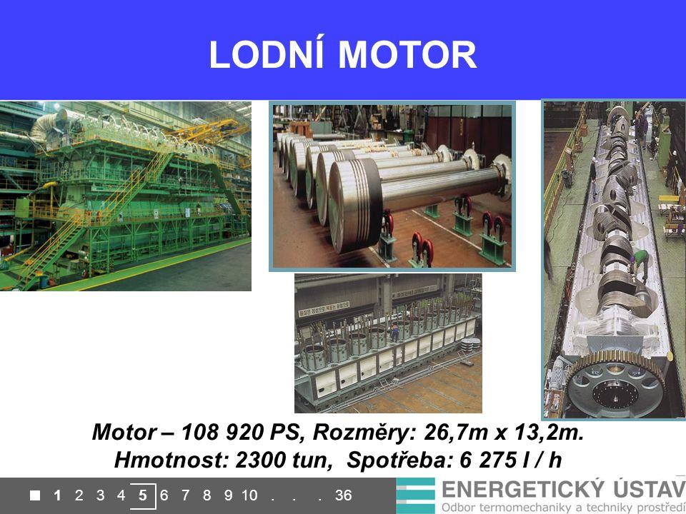LODNÍ MOTOR Motor – 108 920 PS, Rozměry: 26,7m x 13,2m. Hmotnost: 2300 tun, Spotřeba: 6 275 l / h.