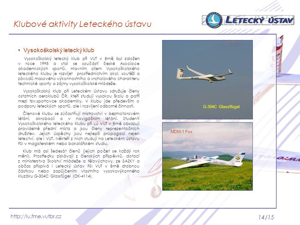 Klubové aktivity Leteckého ústavu