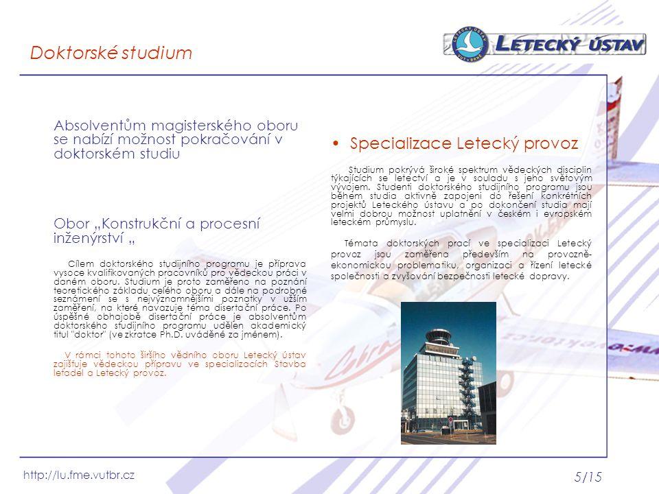 Doktorské studium Specializace Letecký provoz