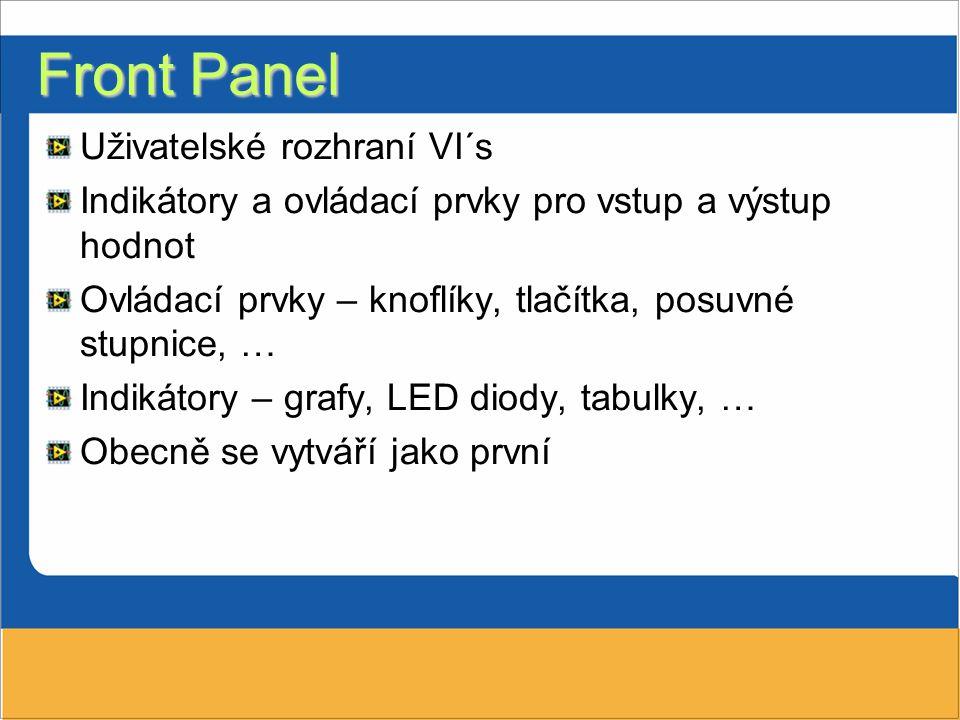Front Panel Uživatelské rozhraní VI´s