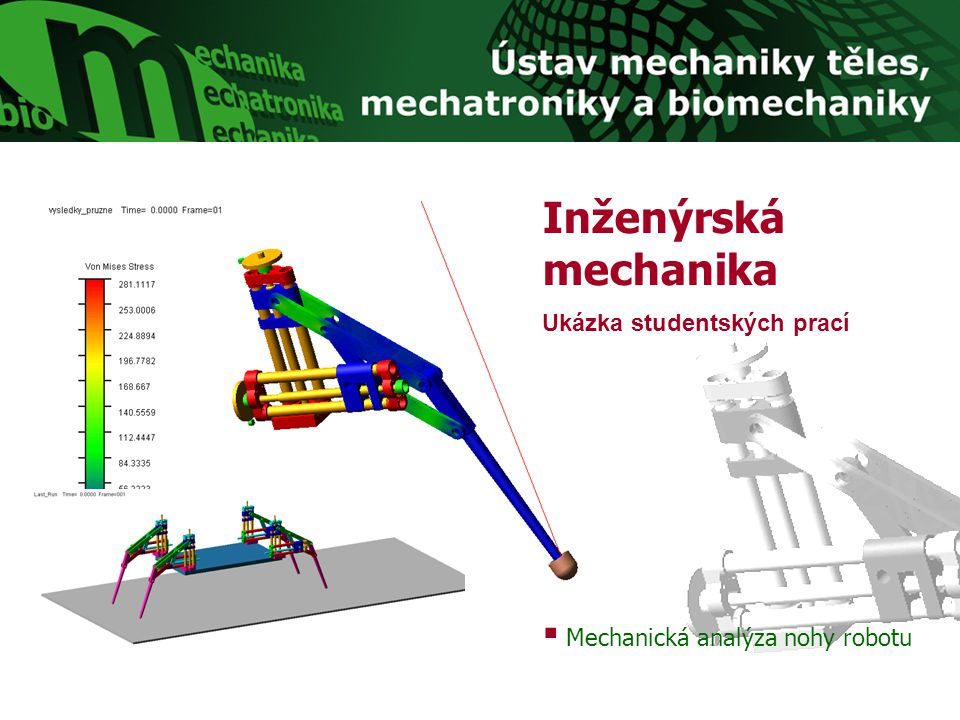 Inženýrská mechanika Ukázka studentských prací