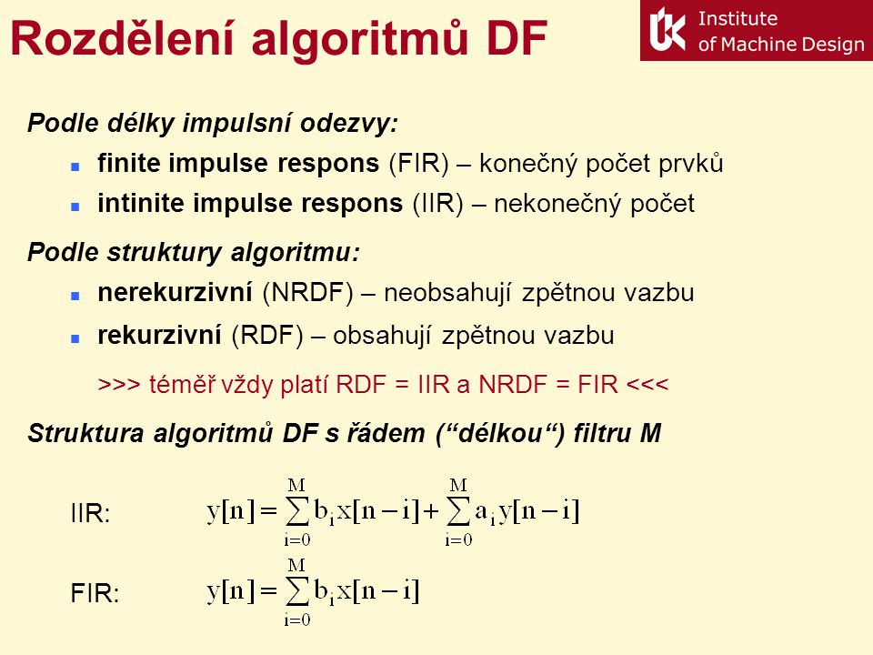 Rozdělení algoritmů DF