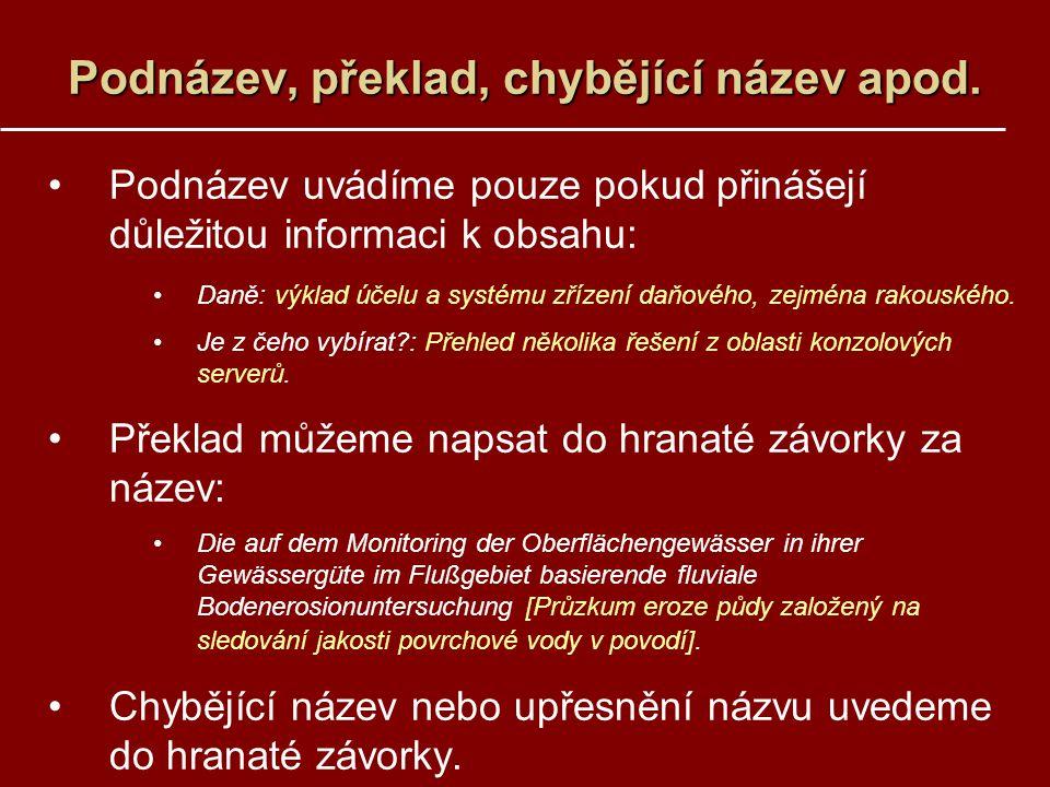 Podnázev, překlad, chybějící název apod.