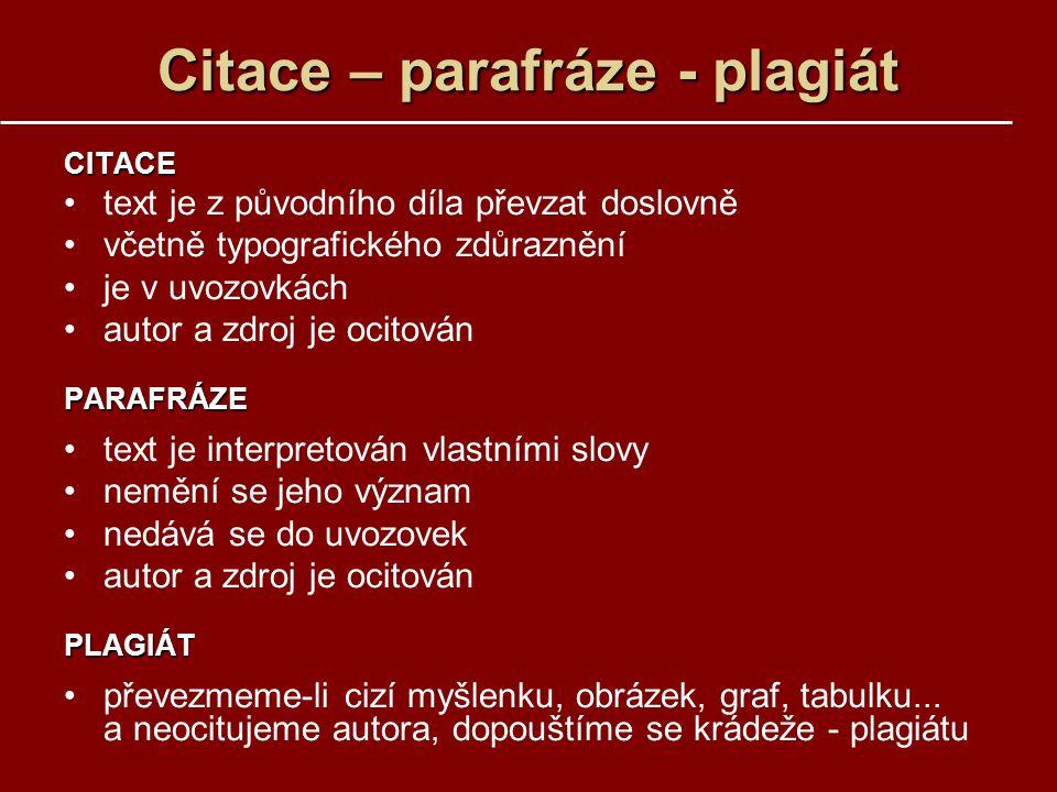 Citace – parafráze - plagiát
