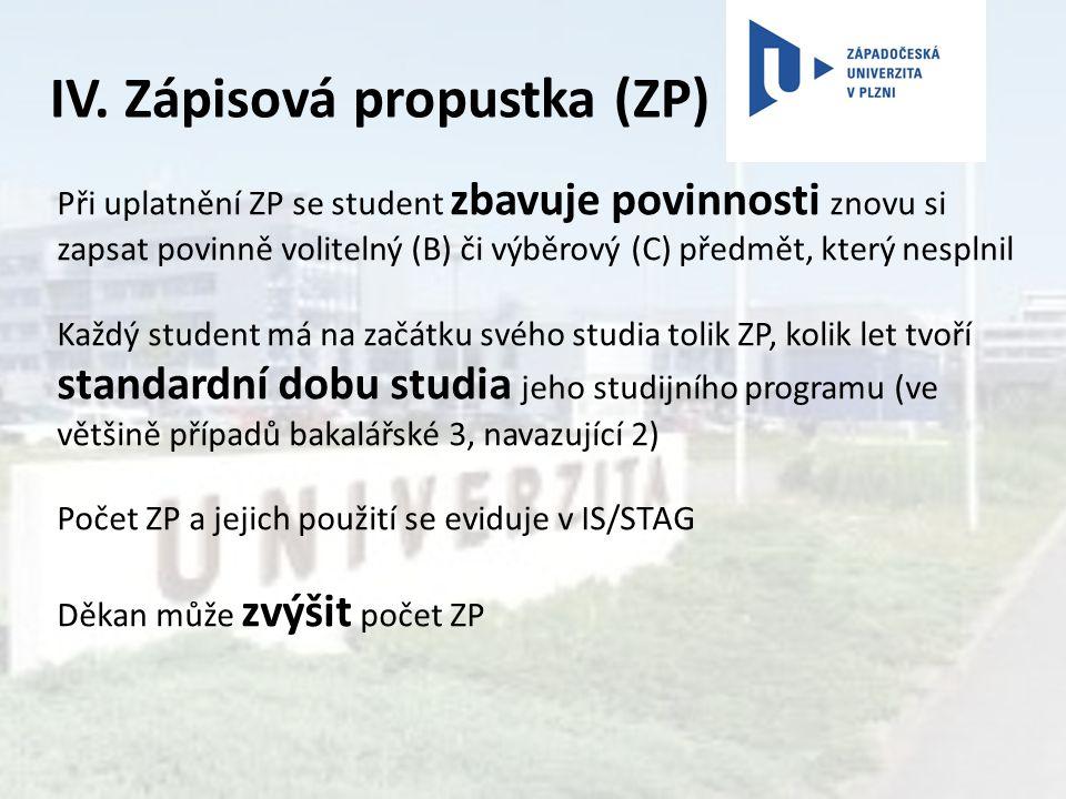 IV. Zápisová propustka (ZP)