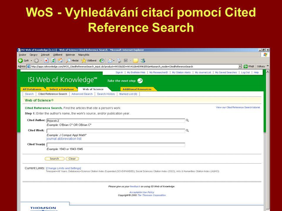 WoS - Vyhledávání citací pomocí Cited Reference Search