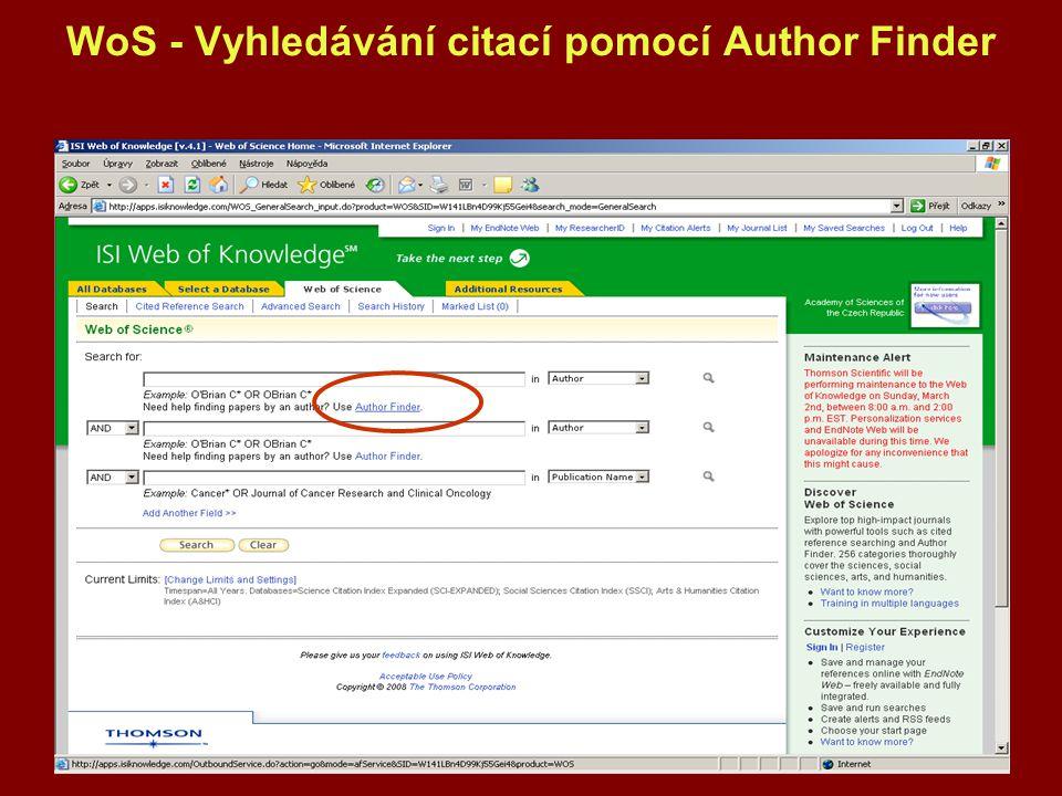 WoS - Vyhledávání citací pomocí Author Finder