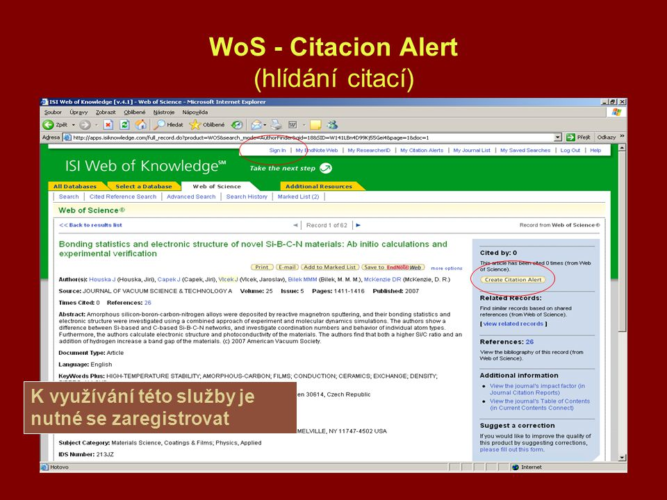 WoS - Citacion Alert (hlídání citací)