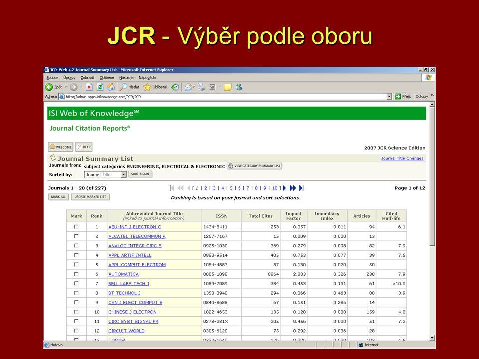 JCR - Výběr podle oboru