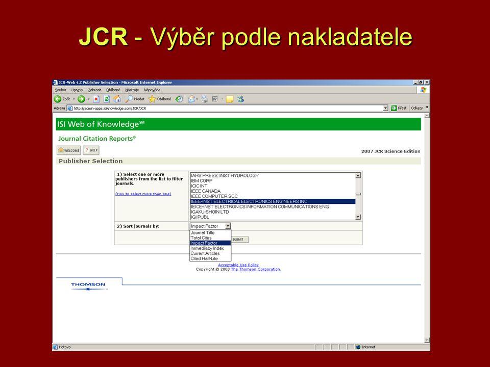 JCR - Výběr podle nakladatele