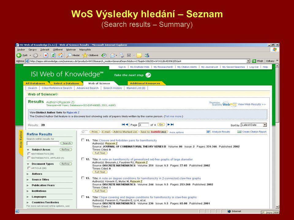 WoS Výsledky hledání – Seznam (Search results – Summary)
