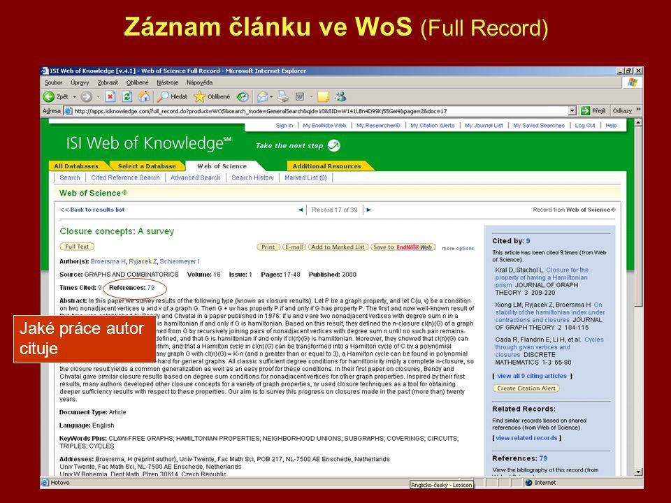 Záznam článku ve WoS (Full Record)