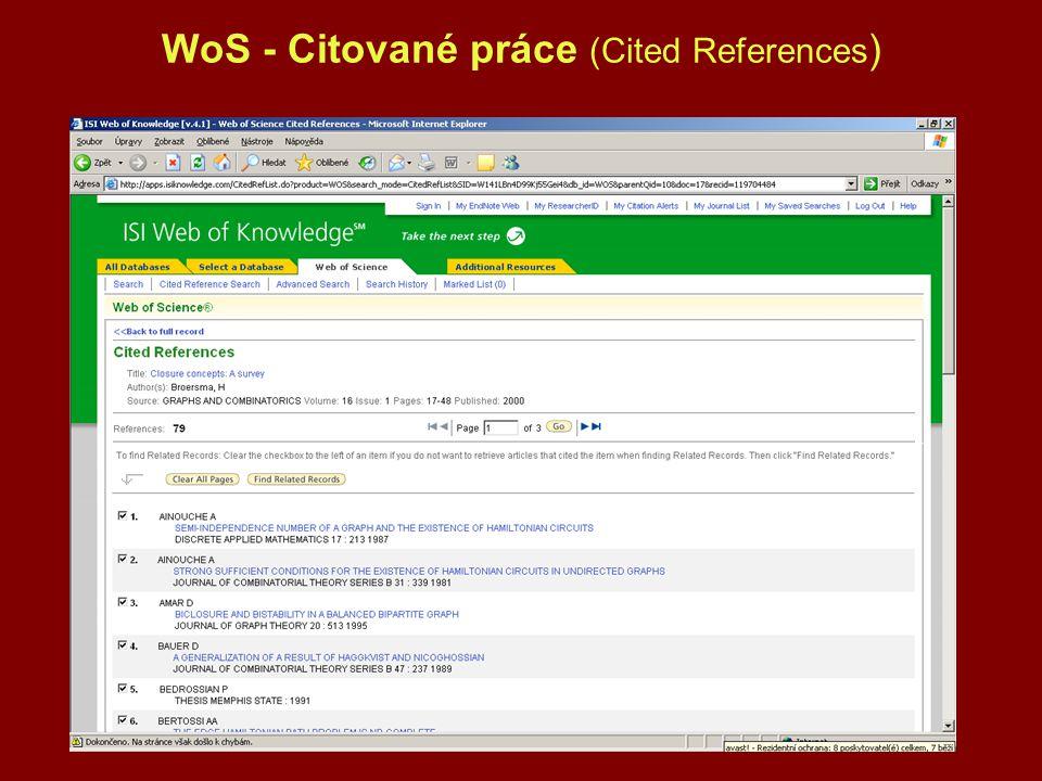 WoS - Citované práce (Cited References)