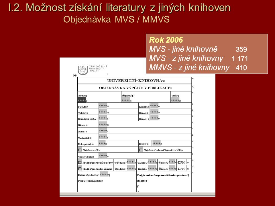 I. 2. Možnost získání literatury z jiných knihoven