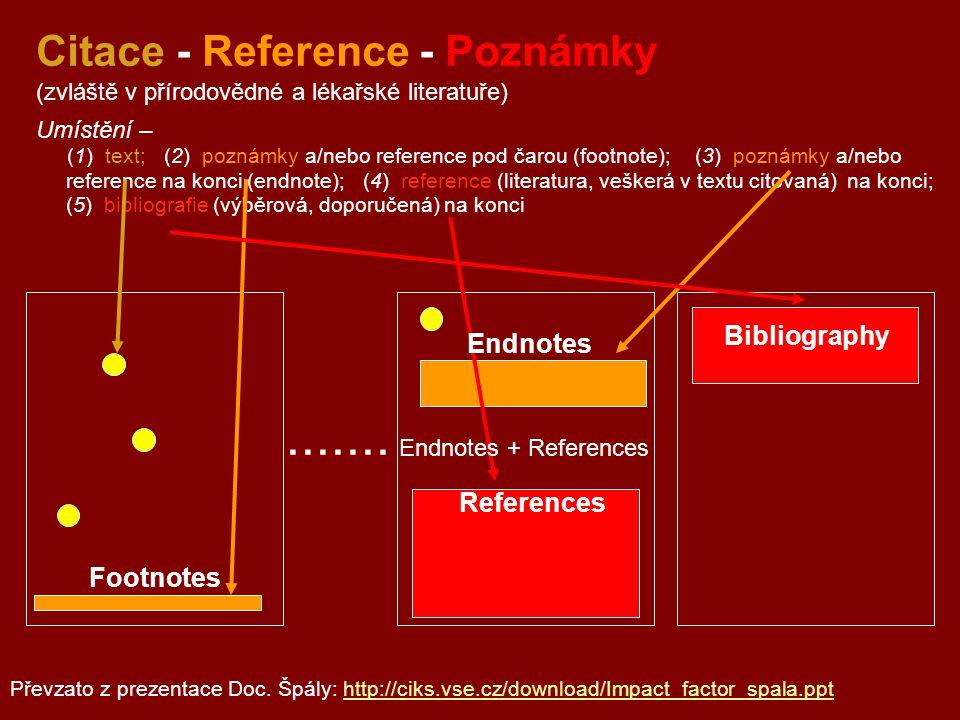 ....... Citace - Reference - Poznámky