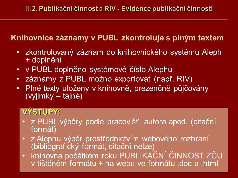 Knihovnice záznamy v PUBL zkontroluje s plným textem